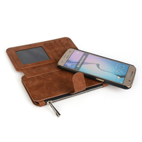 Small MOQ Factory PU Leather Flip Case With Wallet Zipper case For Samsung S6