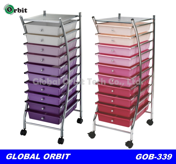 Colorful mobile 10 tier drawers plastic cart with drawers, storage trolley