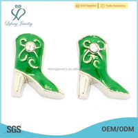 Fashion zinc alloy enamel green boot floating charms jewelry wholesale