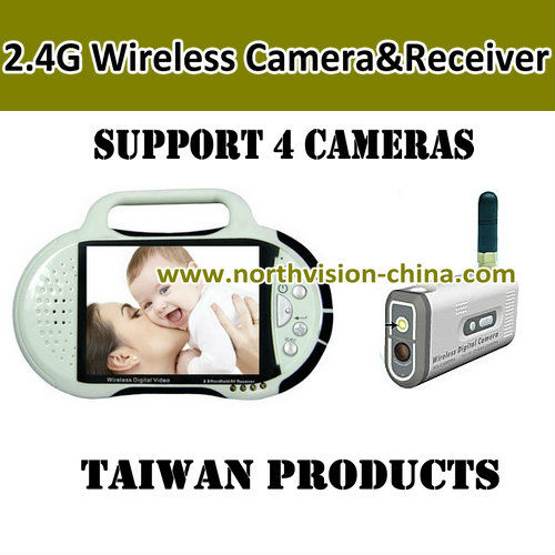 2.4GHZ wireless camera video recorder with 2.8 inch lcd monitor, video recording, support tf card