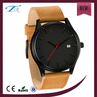 fashion men watch with leather band and big face welcome your own logo