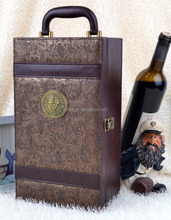 Custom Phoenix Pattern Lesther Double Wine Box With Tools Pure Manual Leather Wine Box