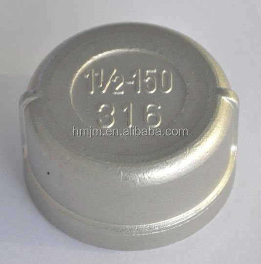 hm ss201 ss304 ss316 high quality stainless 8 threaded steel pipe caps