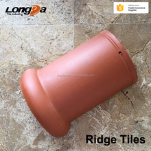 Nature color 170x280mm clay ridge roof tiles for terracotta main roof