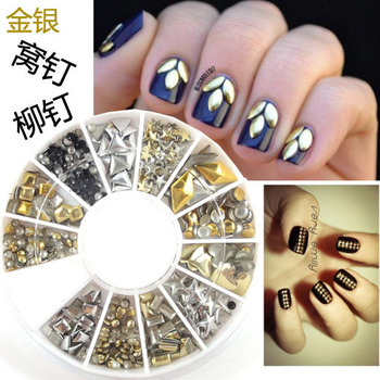 New nail art 12 style mixed metal Wo nails clinch sheet copper DIY decorations 200 pcsc in a 6cm roundel