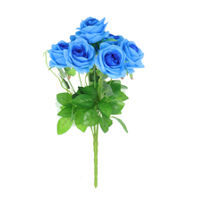 Factory Direct Blue Real Touch Artificial Rose Flower Bouquet For Table Decoration