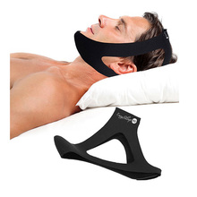 triangle shape expendable sleep aid black anti snoring jaw chin support strap