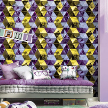 korean bedroom dimensional geometry design vinyl wallpaper made in China
