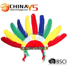 wholesale multi-color goose turkey feather Indian headbands