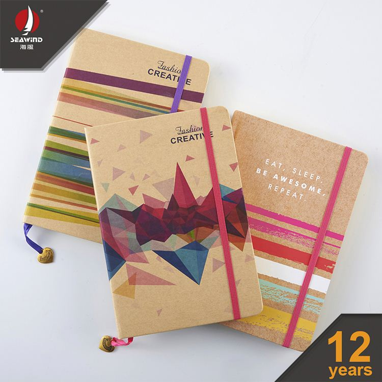 exercise note book gold edge kraft ELASTIC NOTEBOOK with pendant