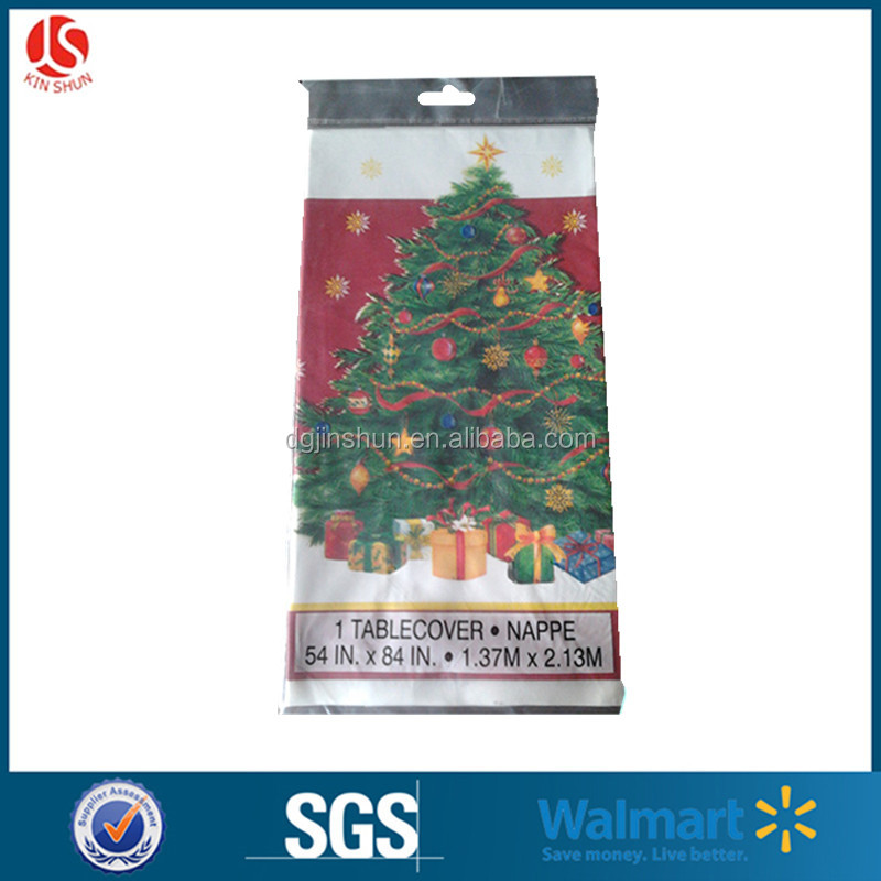 disposable plastic Chrimstmas tablecloth pe polyester Santa tree printed square shape custom tablecloth with non-woven cloth