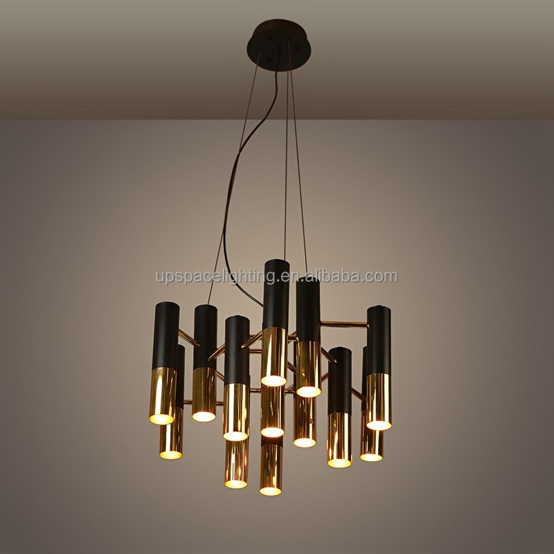 (XCP8063-13) Modern Chandeliers vintage industrial black aluminum gold tube pendant light