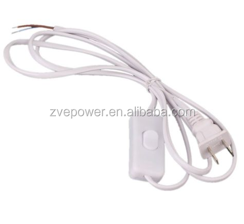 1.8m On Off Switch Power Cable For LED Lamp with Button switch White Wire lighting accessory wholesale