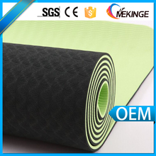 Durable double layers recycled yoga mat tpe,green black yoga mat manufacturer