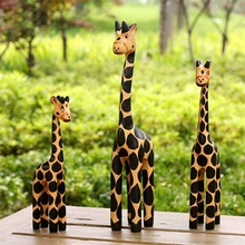Wood Carving Painting Three Giraffe Happy Family Home Furnishing Decoration
