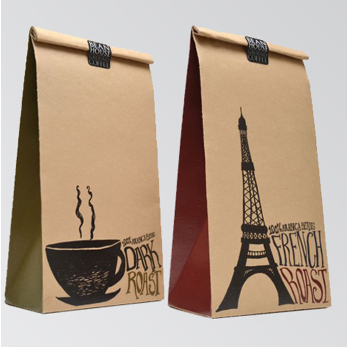 Low cost production paper bag brown fashion small kraft paper bag logo printed kraft paper bag for food