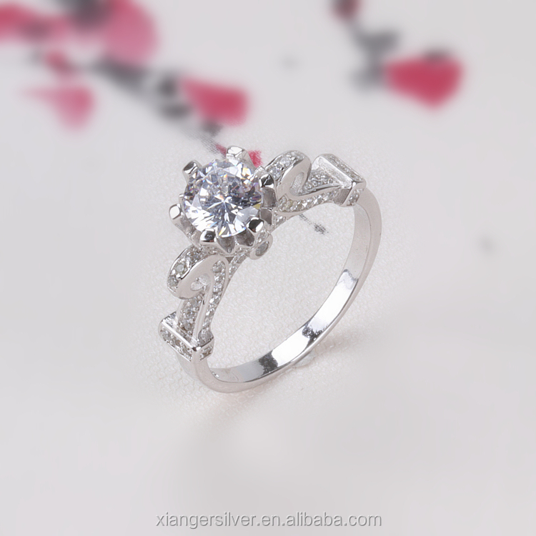 Wholesale Jewelry Silver Fashion Vagina 925 Sterling Silver Wedding Diamond Engagement Ring