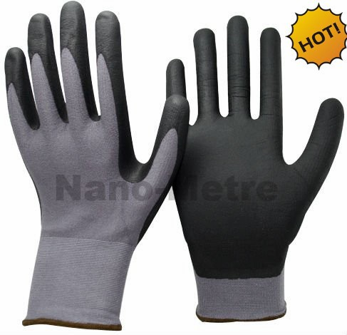 NMSAFETY 13 Gauge winter grey nylon liner coated nitrile gloves thickness