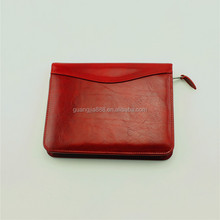 Red leather portfolio multi-function zipper bag