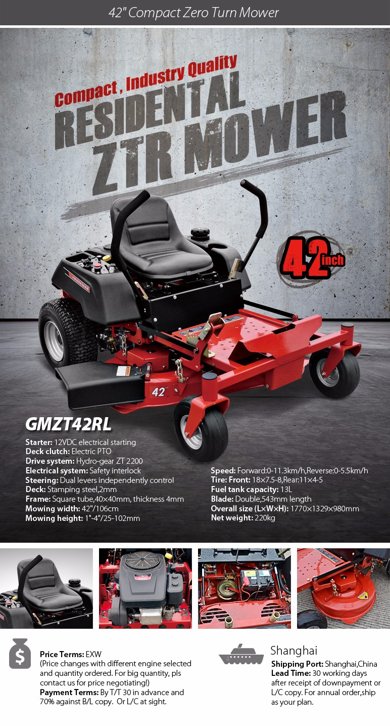 "42"" compact residential ride on zero turn mower with B&S engine and competitive price"