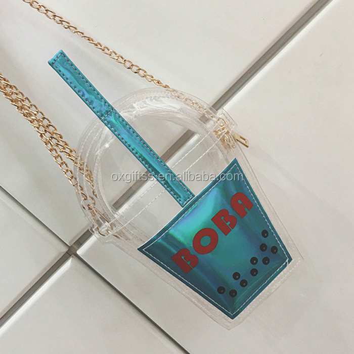 OXGIFT Wholesale Factory Price Chain Shoulder straw transparent tote bag women