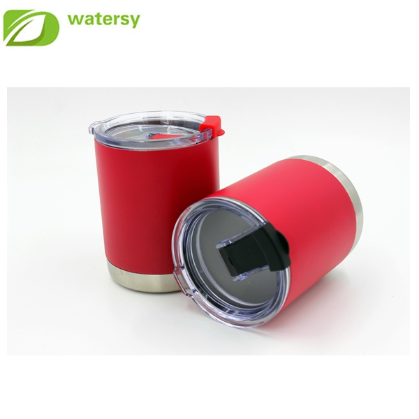 10 oz double wall stainless steel tumbler with red spray paint insulated tumbler
