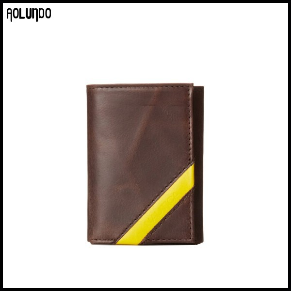 Yellow corner diagonal band custom genuine leather trifold wallet for men