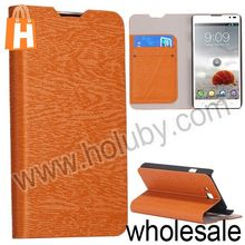 Simple Wallet Style Wood Grain Pattern Side Flip Stand Leather Case for LG D605 Optimus L9 II With Card Slot