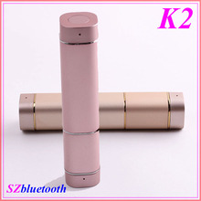 K2 lipstick shape ladies TWS CSR 4.1 magnetic super mini true wireless bluetooth ear buds with power bank