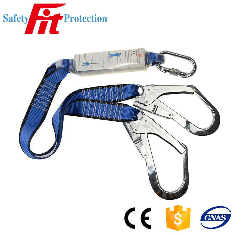 double hook fall arrestor construction safety lanyard