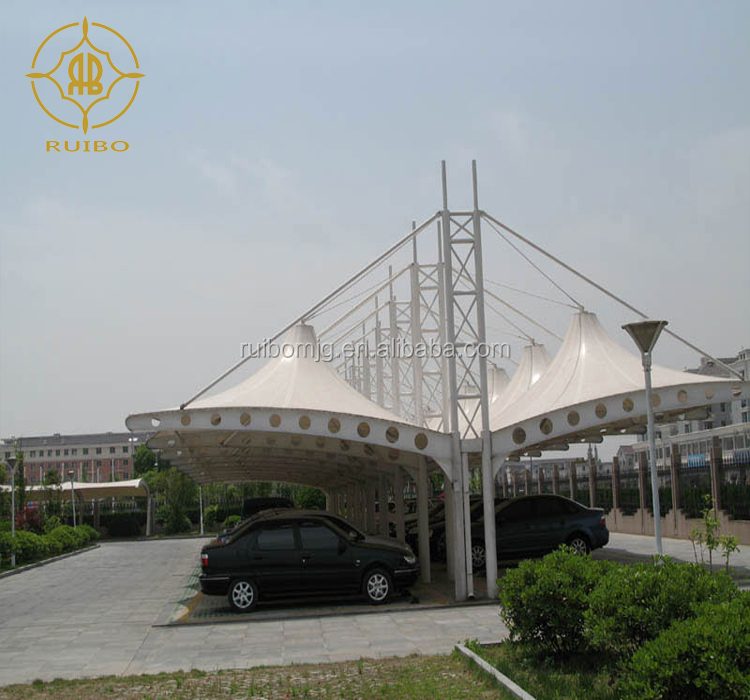 Tensile membrane structure for car parking ,PTFE or PVDF car cover tent