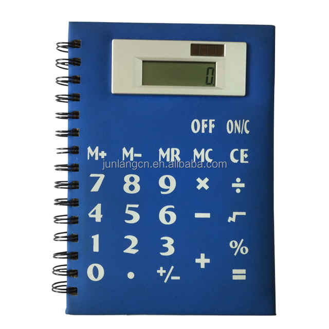 PU PVC Notebook calculator with diary 8 Digit Solar Power Students of office Diary Calculator