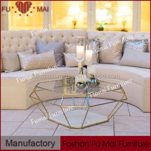 Polygonous glass top stainless steel end tables coffee table