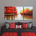 Handmade Red Tree Lake Modern Abstract Wall Art Landscape Oil Painting