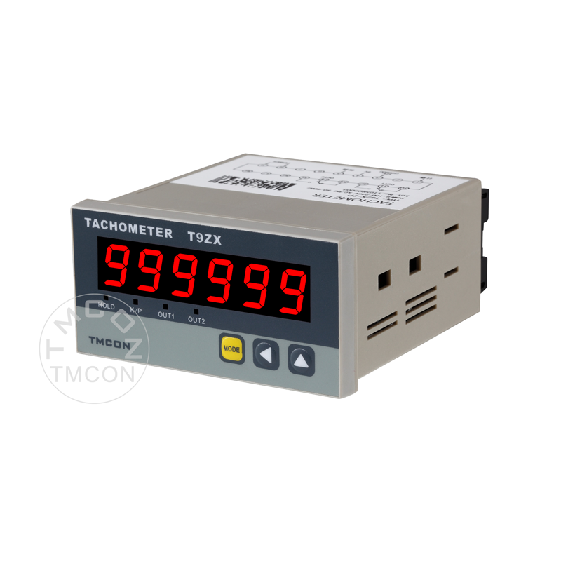 T9ZX TMCON 6 digit 48*96mm Industrial intelligent Digital Tachometer RPM meter Line speed Meter with RS485 4-20mA Alarm Relay