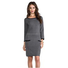 lady style formal knitted wool dress for winter