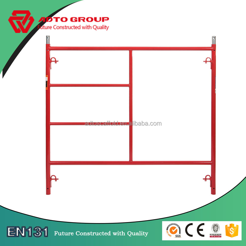 Construction frame scaffolding/walk-thru frame with ladder with adjustable cross brace