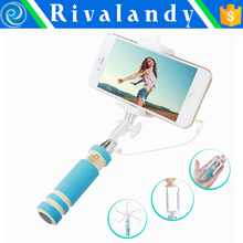 Wholesale wired mini monopod selfie sticks with foldable handheld,foldable monopod Selfie-stick with cable