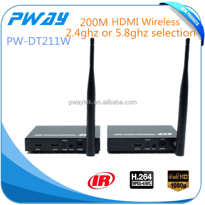 Newest PW-DT211W 200m/656ft H.264 HDMI Wireless Extender Hdbitt 1080p 2.4ghz/5.8ghz video auodio transmitter