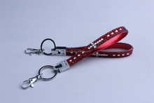 Diamante sparkling bling wristlet cell phone rhinestone short lanyard for keys