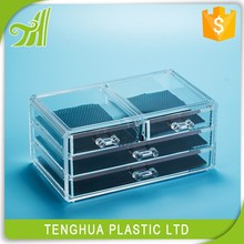 Cosmetic organizer acrylic storage box, makeup brush case,High quality PS plastic acrylic storage box with cover