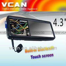 GPS 4.3 rear view touch monitor mirror screen GPS navigation BT game Win ce 5 for renault megane ii car gps