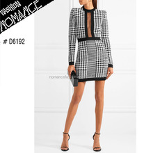 Houndstooth women mesh-trimmed stretch-knit mini dress pics
