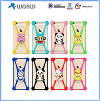 "Cartoon Universal silicone bumper case cover with ring holder for 3.5"" - 5.5"" mobile phone"