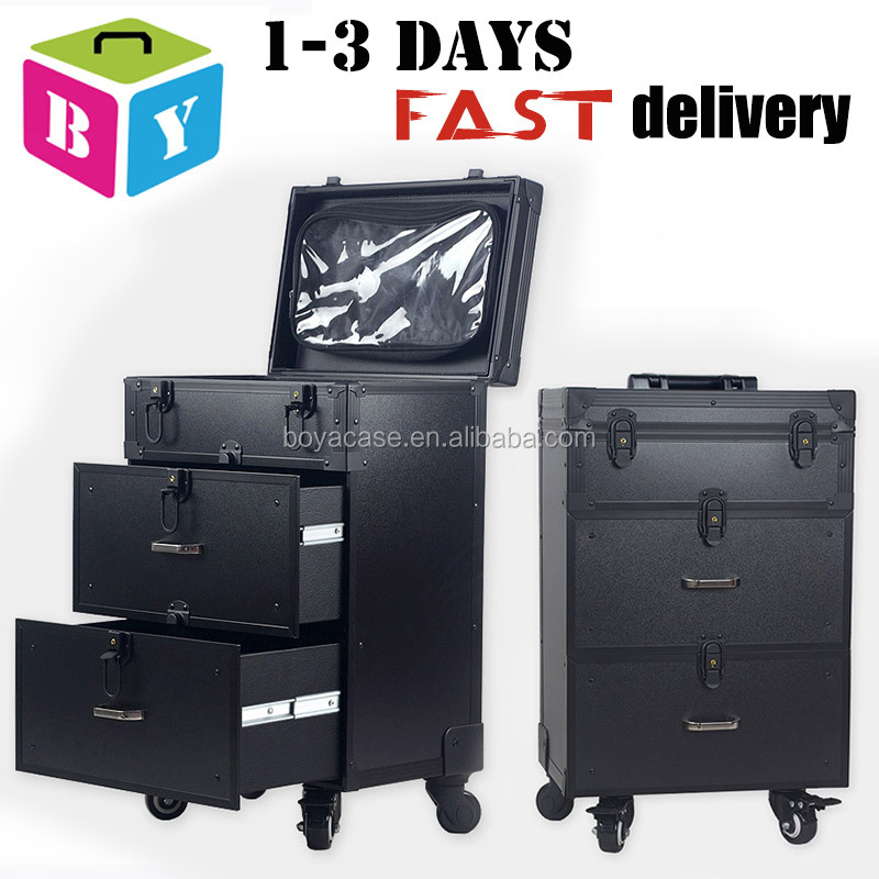 professional aluminium trolley rolling beauty makeup train case for nail polish