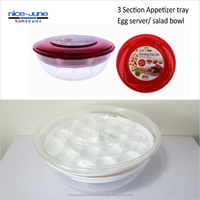 3 in 1 Party serving platter plastic iced serving egg dish Food tray with egg insert