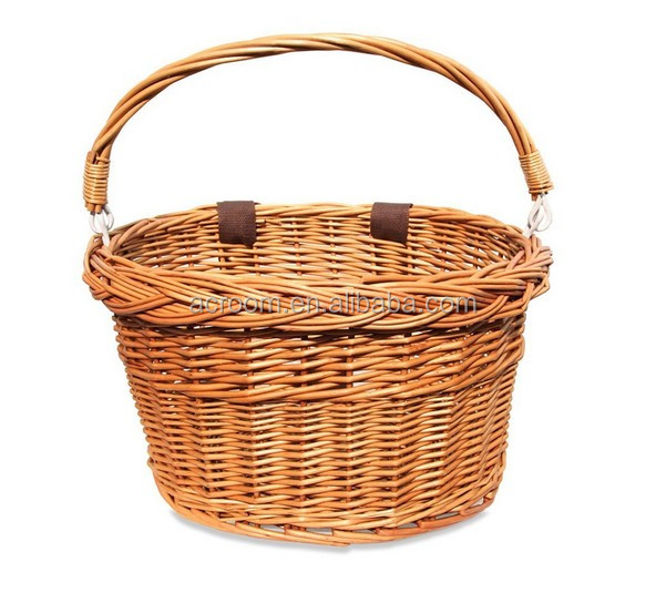 Wholesale fashion willow wicker natural ladies design bicycle bike basket dog carrier for storage or pets dog with handle