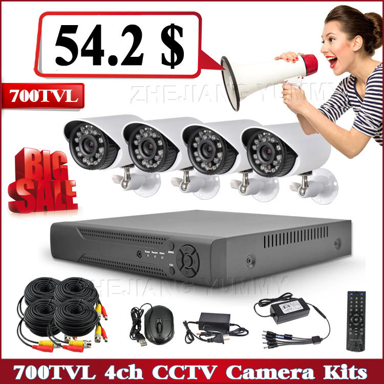 2015 Security CCTV System with 4 Channel 700TVL low cost dvr cctv camera