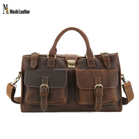 Large Capacity Gym Bag Vintage Genuine Leather Travel Bag Men Duffle Bag With Shoulder Strap 8895