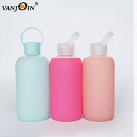 16oz Portable Custom Boston Round 500ml Glass Water Bottle With Silicone Sleeve